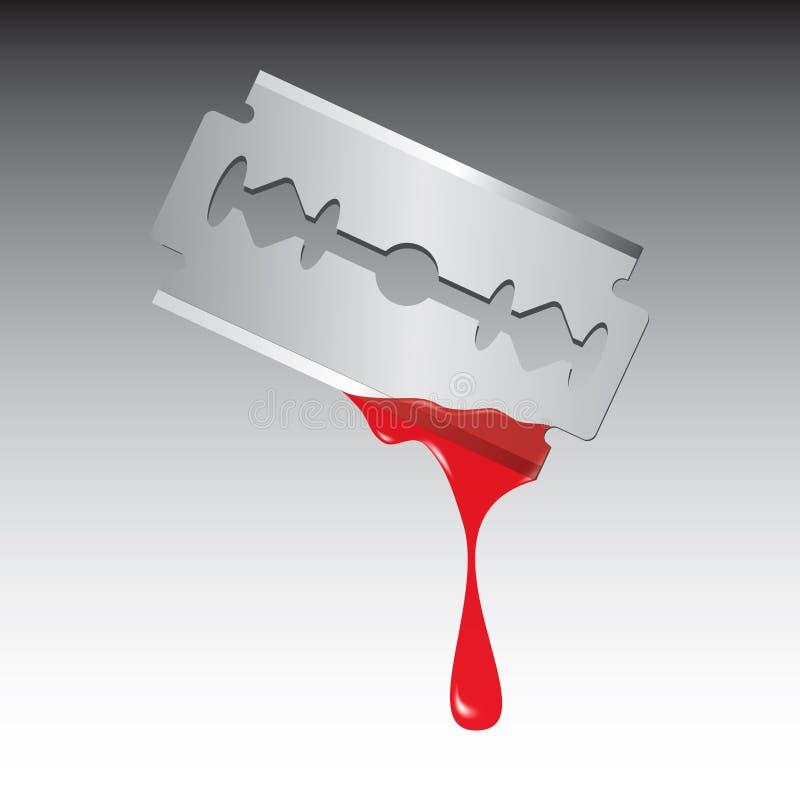Lame de rasoir avec le sang illustration libre de droits