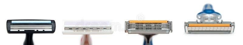 Lame de rasoir de rasage jetable D'isolement sur le fond blanc Accessoire d'hygiène personnelle, lames pointues image stock