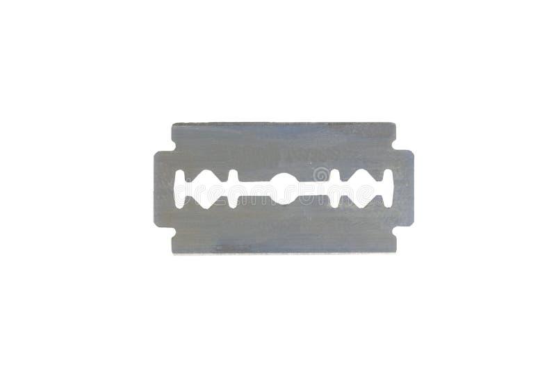 Lame de rasoir de sécurité sur un fond blanc Double lame de bord d'acier inoxydable, d'isolement sur le fond blanc Copiez l'espac images stock