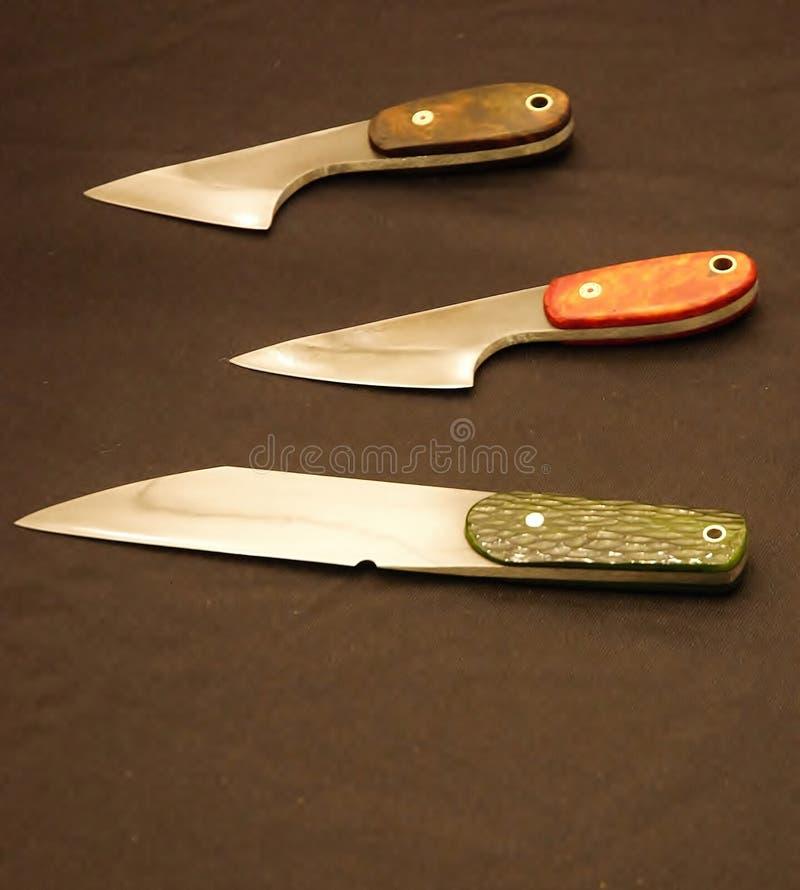 Lame differenti raccoglibili dei coltelli su ordinazione immagine stock libera da diritti