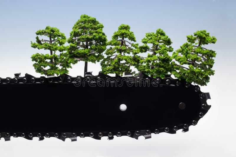 Lame en gros plan de tronçonneuse avec des arbres image stock