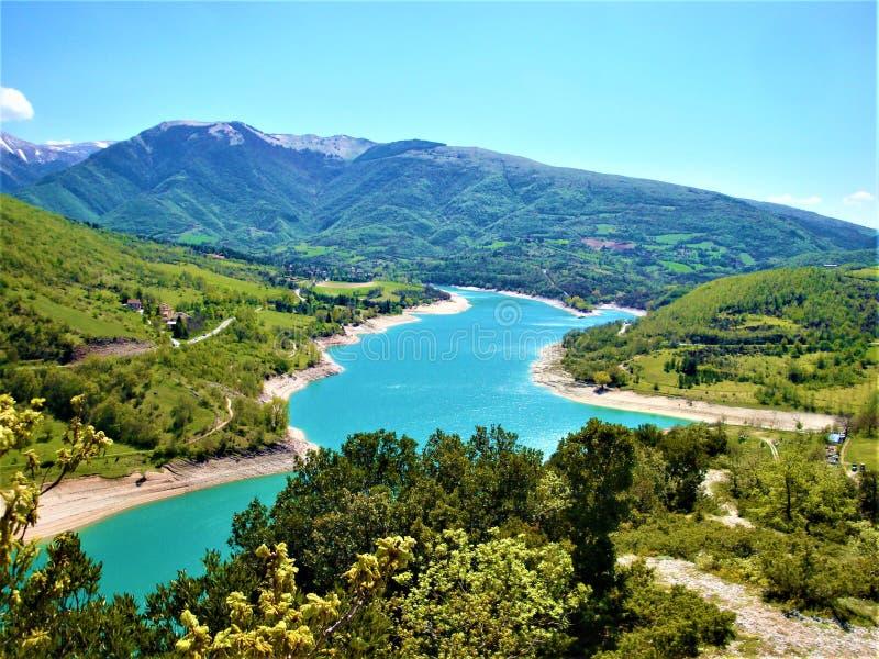 Lame Rosse 'Red Blades' w regionie Marche, Włochy Przyroda i atrakcyjność turystyczna obraz stock