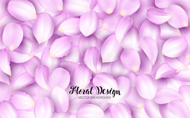 Lamedura de los pétalos rosados de una flor en una pila Elementos realistas del diseño del efecto Ilustración del vector Fondo fl stock de ilustración