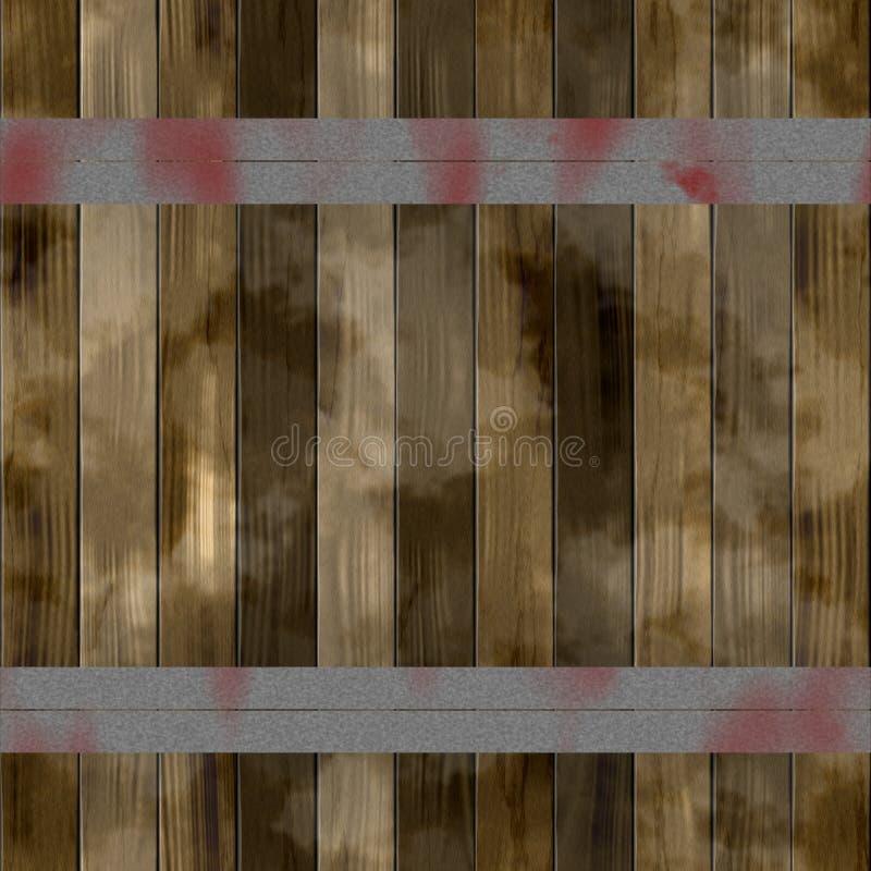 Lamelles en bois de Brown renforcées avec des bandes de fer Texture en bois de vieille couleur illustration libre de droits