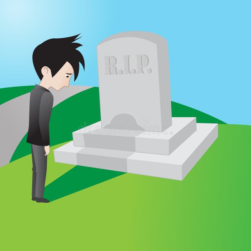 Lamentação no cemitério ilustração royalty free