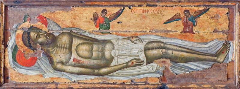 Lamento - pittura antica dalla chiesa di Sain Athanasios sull'isola di Paros, Cicladi, Grecia fotografie stock libere da diritti