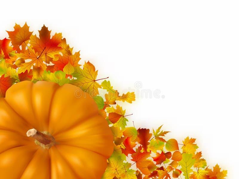Lames d'automne avec le potiron. illustration de vecteur
