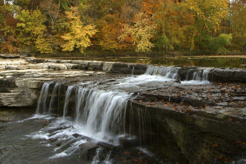 Lames d'automne et cascade à écriture ligne par ligne photographie stock libre de droits