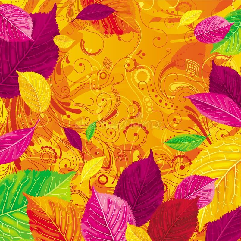 Lames d'automne saisonnières sur le fond d'or illustration de vecteur