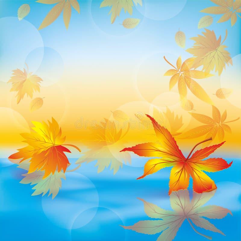 Lames d'automne sur l'eau, fond de nature illustration de vecteur