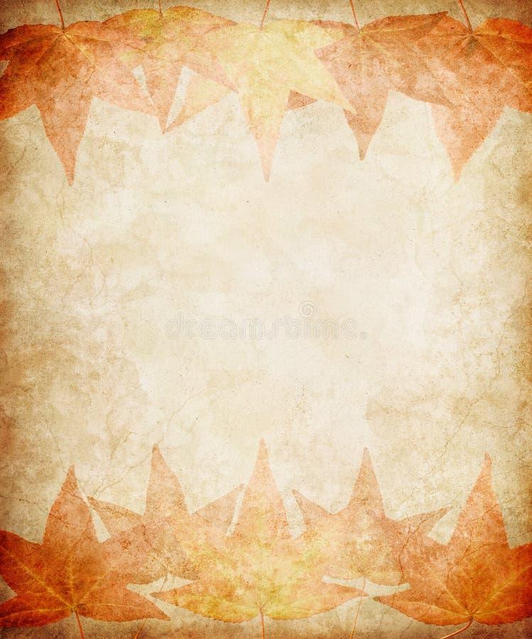 Lames d'automne sur le papier grunge illustration de vecteur