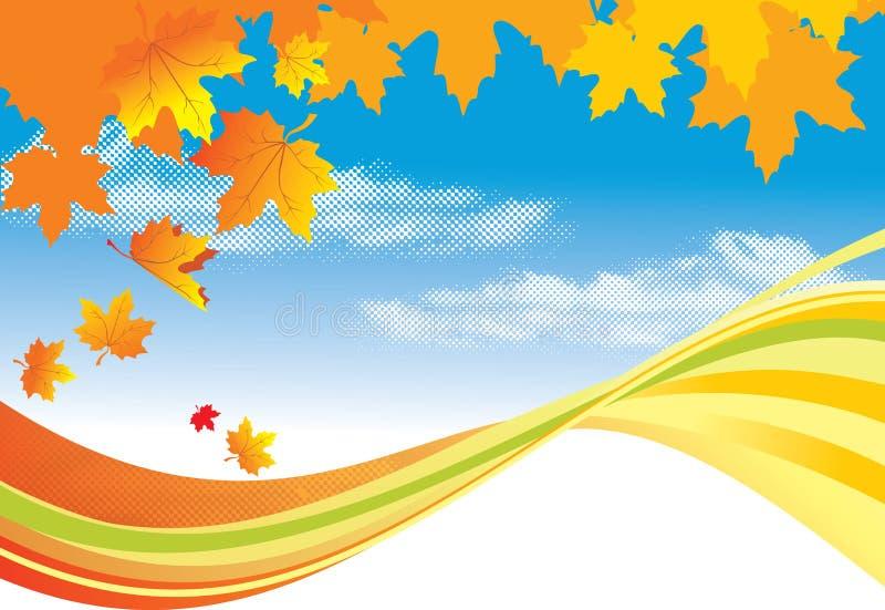 Lames de fond/or d'automne et ciel bleu illustration stock