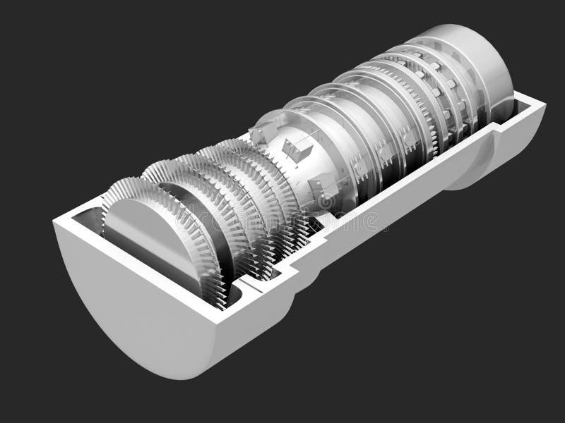 Lames de propulsion de moteur à réaction de turbine à gaz illustration libre de droits