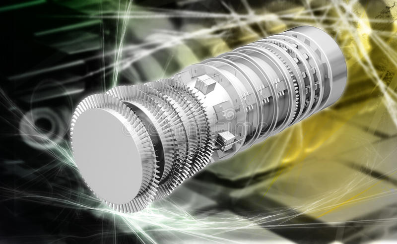 Lames de propulsion de moteur à réaction de turbine à gaz illustration stock