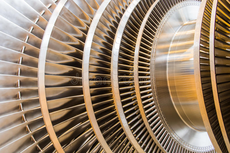Lames de rotor de turbine à vapeur  photo stock