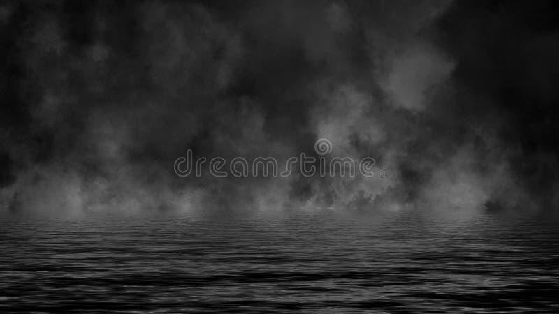 Lames de roulement des nuages de brume de fum?e de glace carbonique ? travers la lumi?re inf?rieure avec la r?flexion dans l'eau  illustration libre de droits