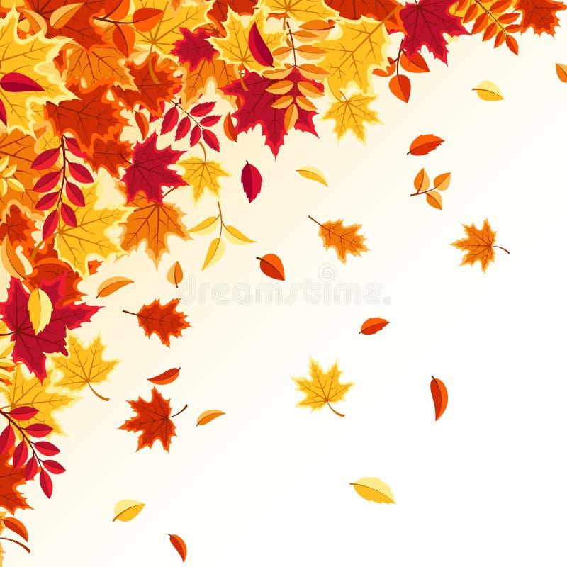 Lames en baisse d'automne Fond de nature avec rouge, orange, feuillage jaune Feuille de vol Vente de saison Illustration de vecte illustration de vecteur