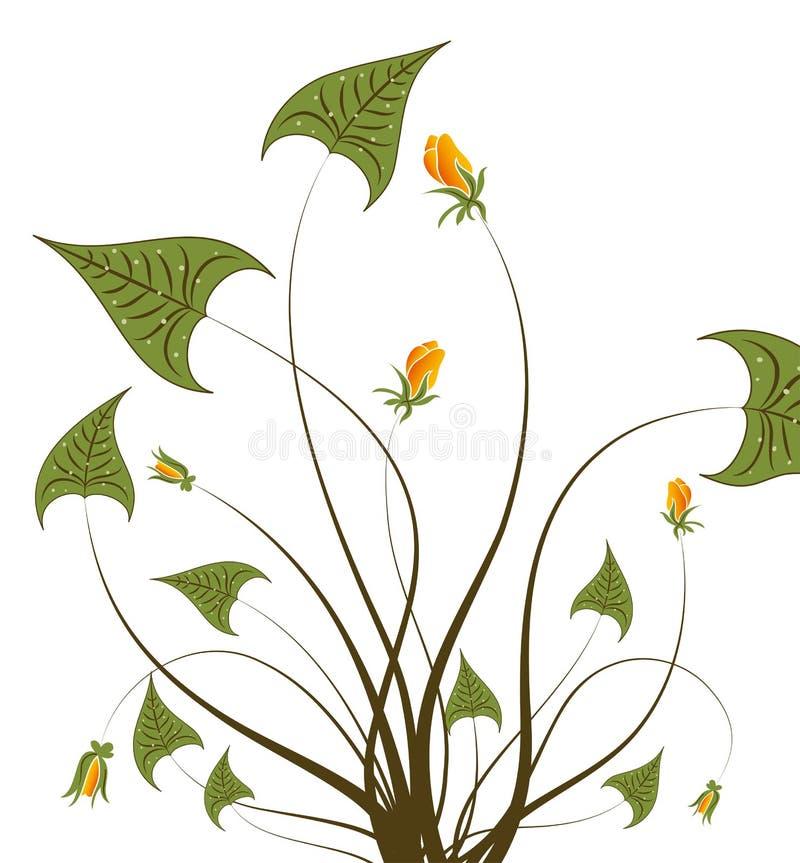 Lames et bourgeon de vert illustration stock