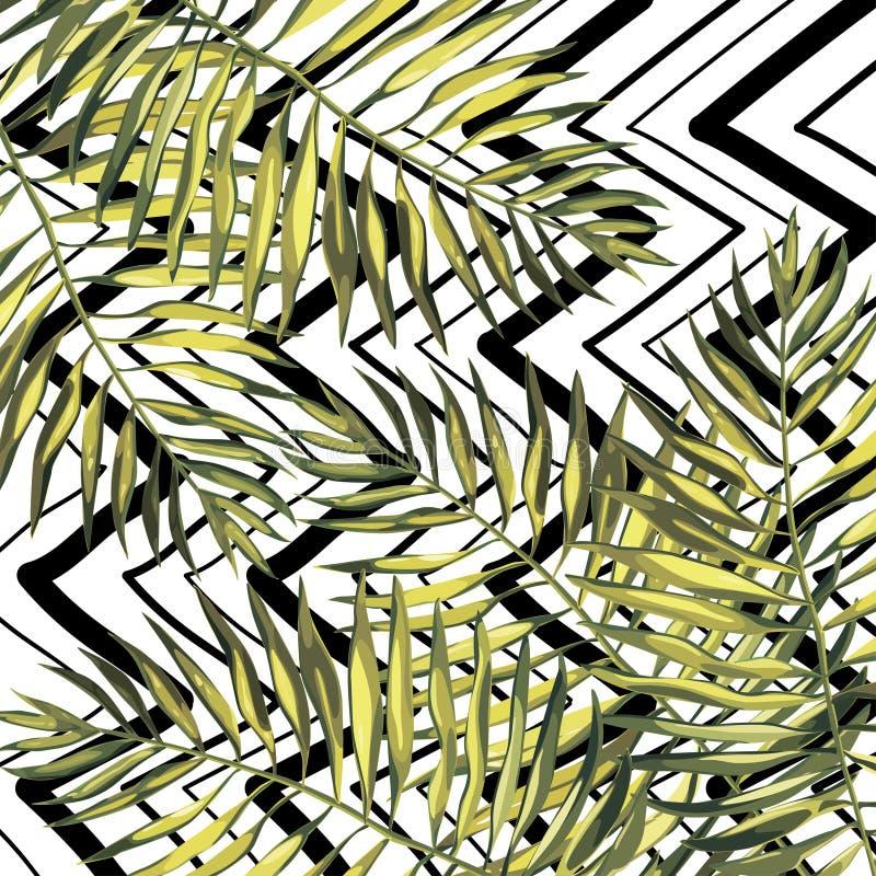 Lames tropicales Fond floral de modèle de beau vecteur, copie exotique ENV 10 illustration libre de droits