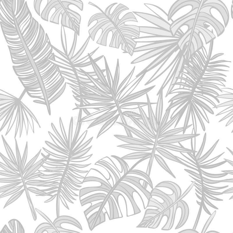Lames tropicales Mod?le tropical gris de feuilles image libre de droits