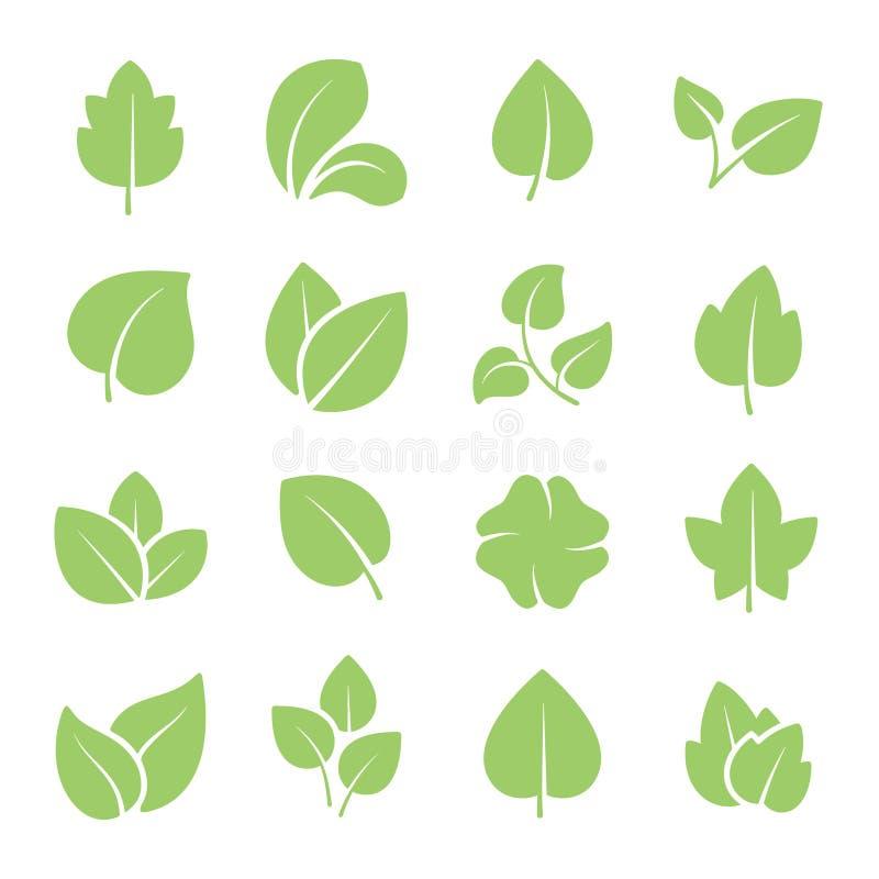 Lames vertes d'arbre Pictogrammes d'écologie de verts de jeunes usines et ensemble amicaux et naturels d'icônes de vecteur de feu illustration libre de droits