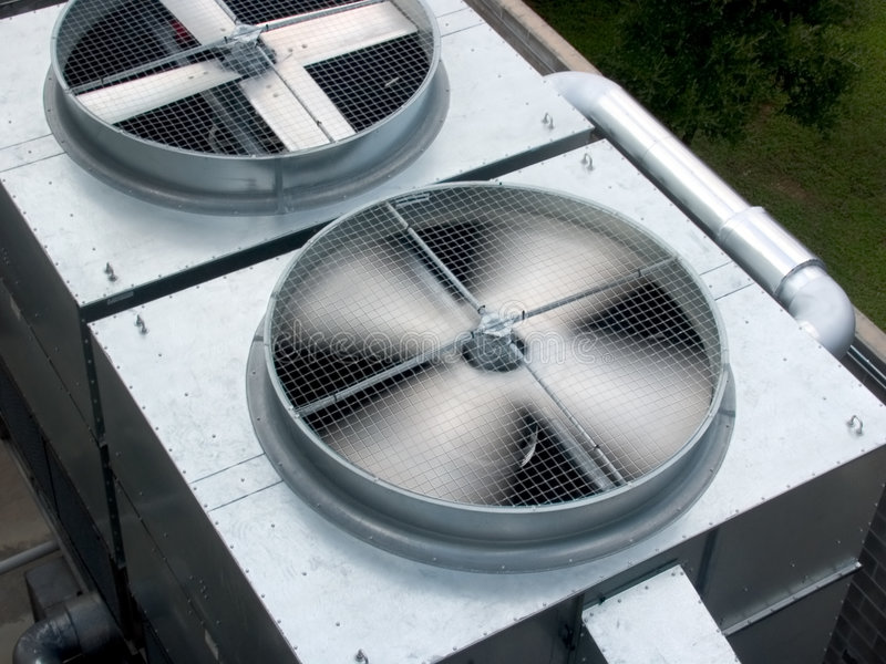 Lamierine spining di HVAC fotografie stock