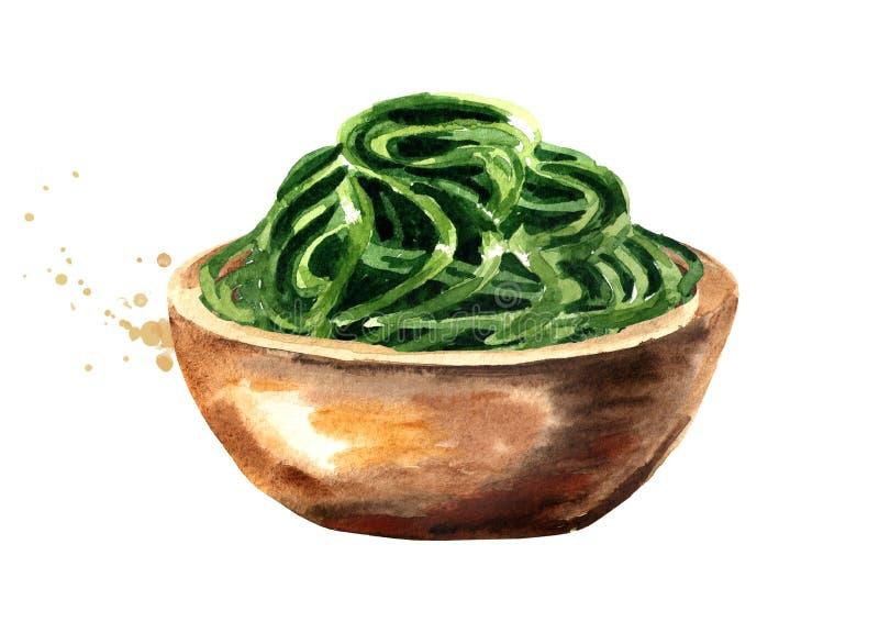 Laminaria, Kelp, gałęzatka Superfood Akwareli ręka rysująca ilustracja odizolowywająca na białym tle ilustracji