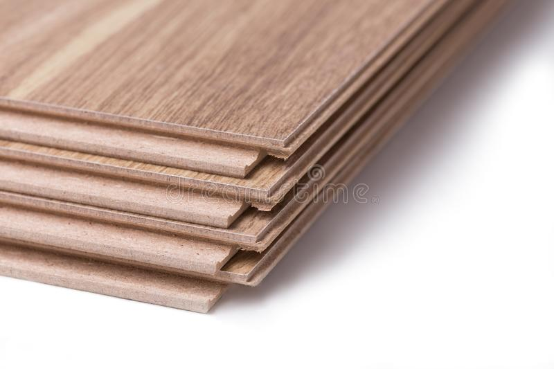Laminate boards are stacked on white background. Four laminate boards stacked one on one isolated on a white background royalty free stock photos