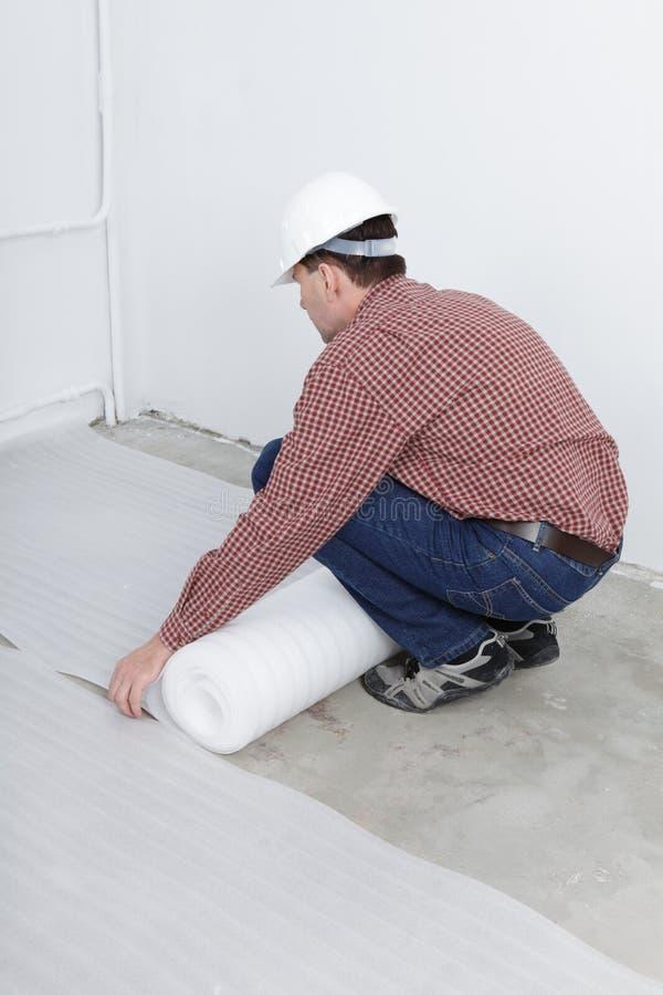 Laminate flooring installation stock photography