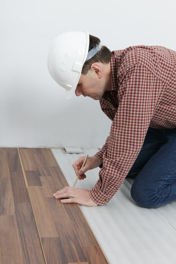 Laminate flooring installation stock photos
