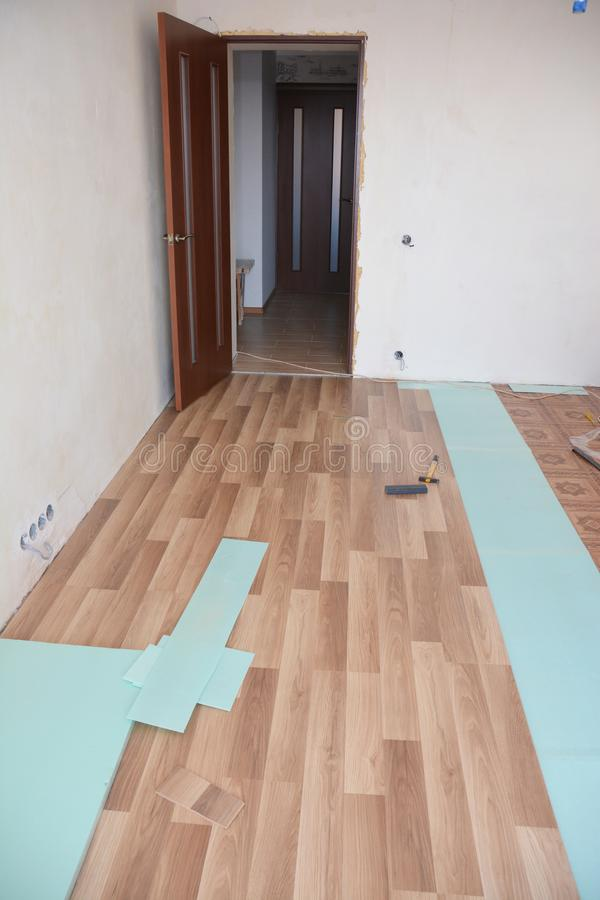 Laminate flooring installation room interior royalty free stock photography