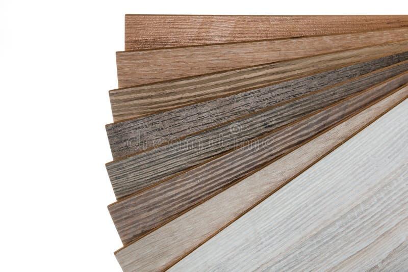 Laminate flooring samples isolated on white background. Selection of laminate flooring samples isolated on white background stock photography