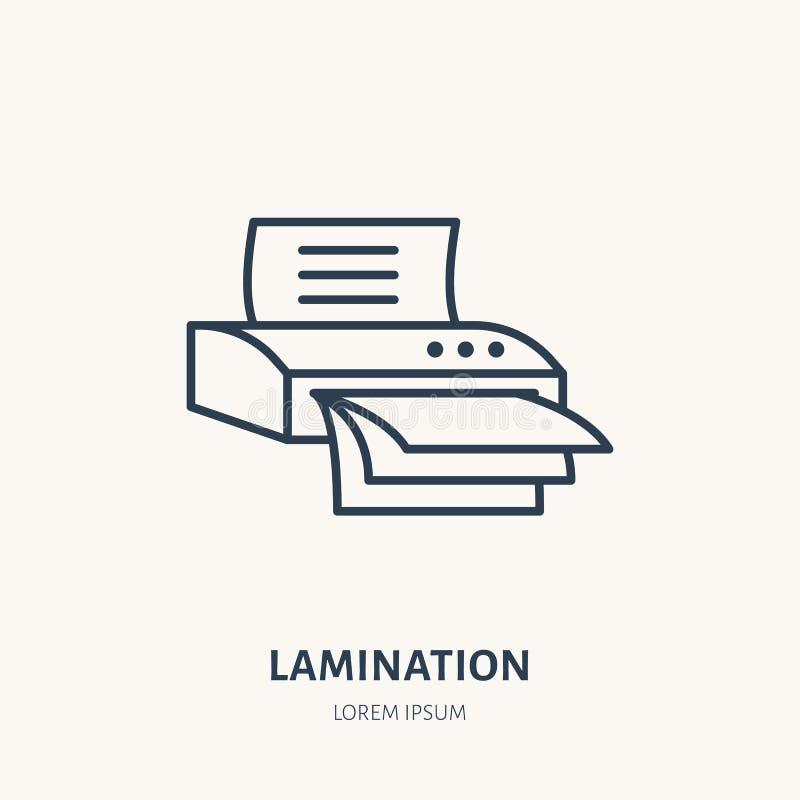 Laminator flat line icon. Office laminating machine sign. Thin linear logo for printery, equipment store royalty free illustration