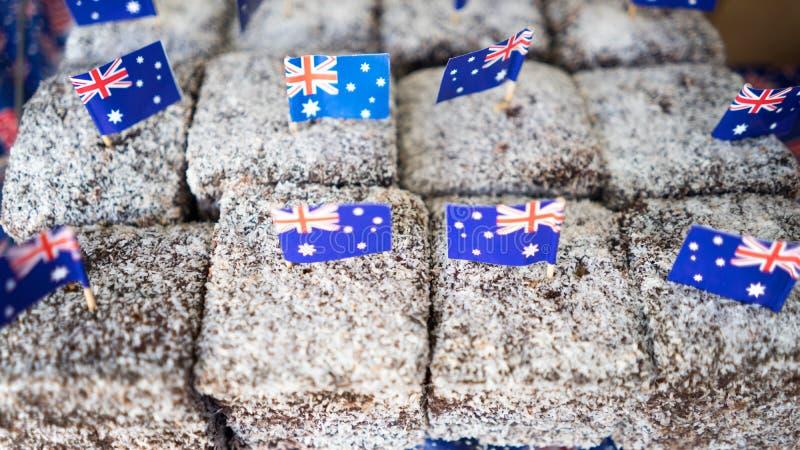 Lamington backt Australien-Tag zusammen lizenzfreies stockfoto