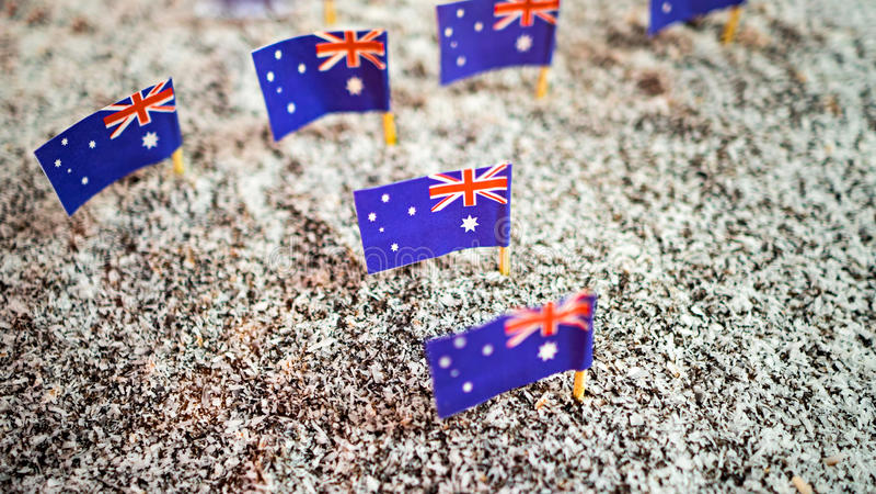 Lamington cake with the Australian flags stock photography