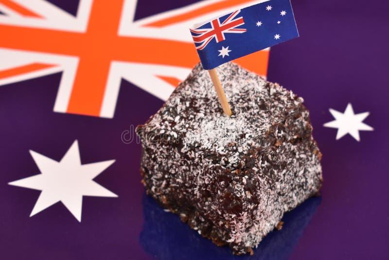 Lamington und australische Flaggenarchivbilder lizenzfreies stockfoto