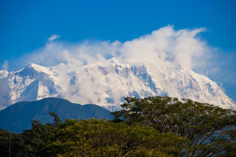 Lamjung Himal :: beautiful snow mountain in Annapurna Himalayan royalty free stock photos