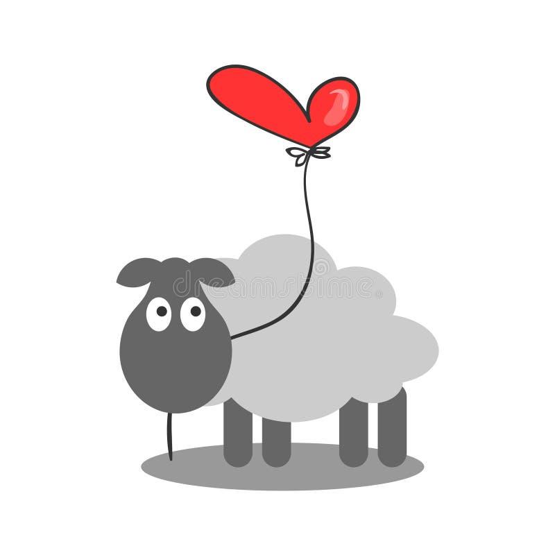 Lamm, das einen Herzballon hält lizenzfreie abbildung