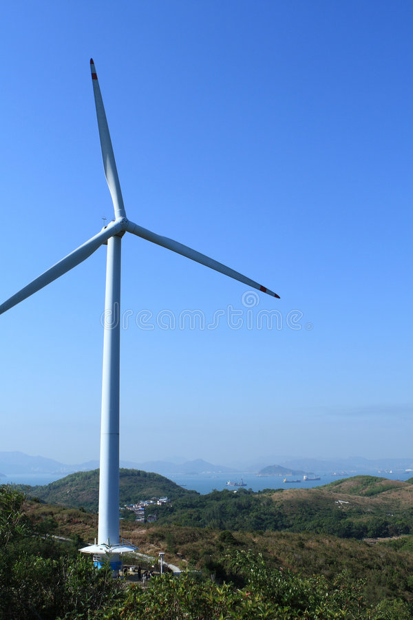 Lamma winds. Is a wind turbine in Tai Ling, Lamma Island, Hong Kong. Built near the Lamma Power Station and owned by Hongkong Electric, it provides 800kW of stock images