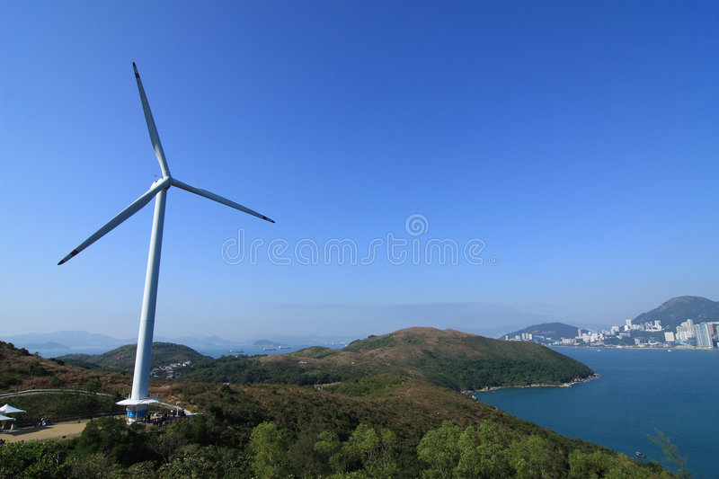 Lamma winds. Is a wind turbine in Tai Ling, Lamma Island, Hong Kong. Built near the Lamma Power Station and owned by Hongkong Electric, it provides 800kW of royalty free stock images