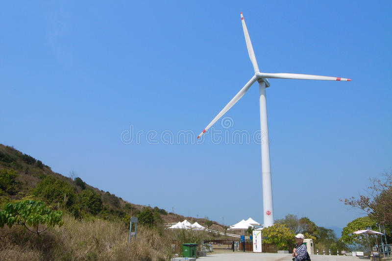 Lamma Winds at Lamma Island, Hong Kong. Lama Winds is hong kong's first and was built to provide a practical look at operating wind turbines stock image