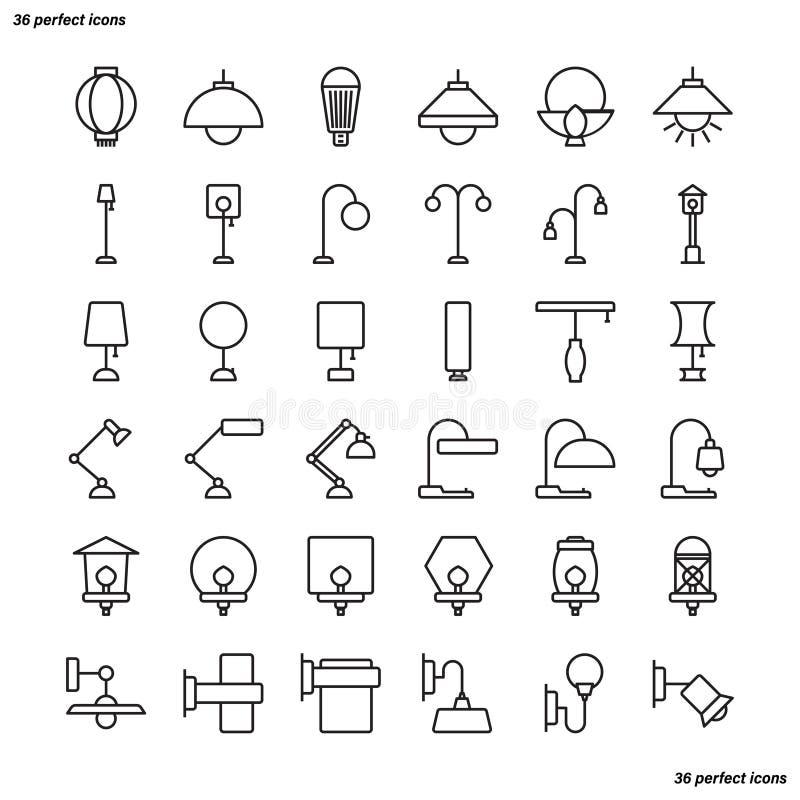 Lampöversiktssymboler gör perfekt PIXELet royaltyfri illustrationer
