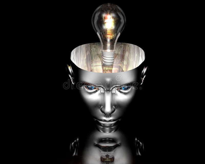 Download Lamp In 3D Cyborg Girl Head On Stock Illustration - Image: 11688071