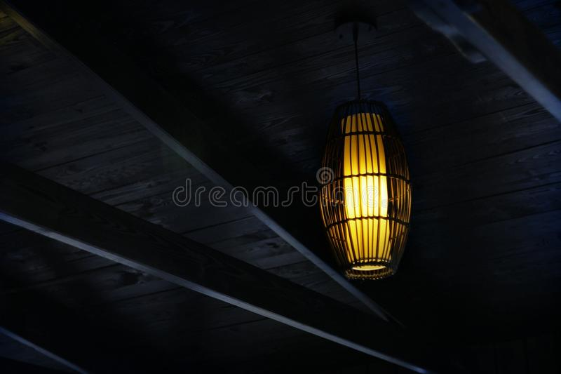 The lamp above the ceiling stock photography