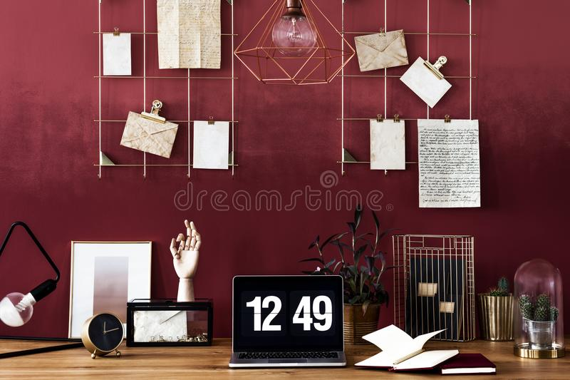 Work area with cherry wall stock photos