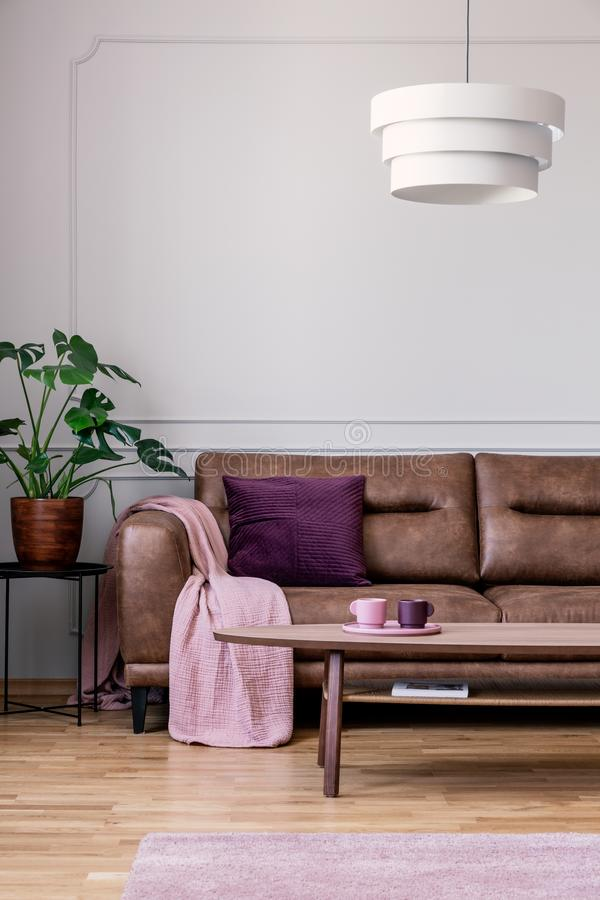 Lamp above wooden table in front of leather couch in vintage flat interior with plant. Real photo. Concept stock images