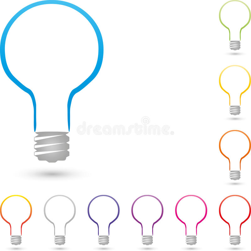 Lamp abstract, lamp and electrician logo royalty free illustration