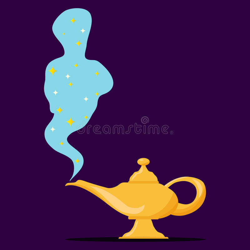 Lamp Aladdin with gin, the magic lamp of Aladdin royalty free illustration