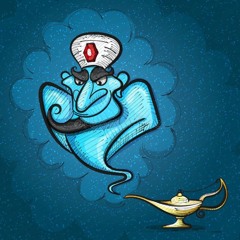 Lamp Aladdin with gin, the magic lamp vector illustration