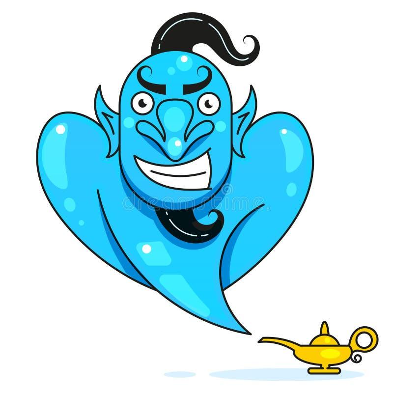 Lamp Aladdin met jenever, de magische lamp van Aladdin Klaar voor uw ontwerp, groetkaart, banner Vector royalty-vrije illustratie